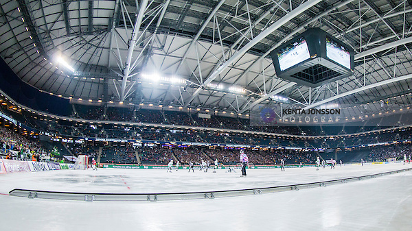 Solna 2014-03-16 Bandy SM-final herrar Sandvikens AIK - V&auml;ster&aring;s SK :  <br /> Vy &ouml;ver bandyplanen mot ena l&aring;ngsidesl&auml;ktaren i Friends Arena under SM-finalen mellan Sandvikens AIK och V&auml;ster&aring;s SK <br /> (Foto: Kenta J&ouml;nsson) Nyckelord:  SM SM-final final herr herrar VSK V&auml;ster&aring;s SAIK Sandviken  inomhus interi&ouml;r interior supporter fans publik supporters