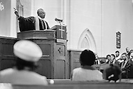 Harlem, New York City, October, 1972. Metropolitain Community Methodist Church, Madison Ave at 126th Street.  Minister William James delivers a sermon.