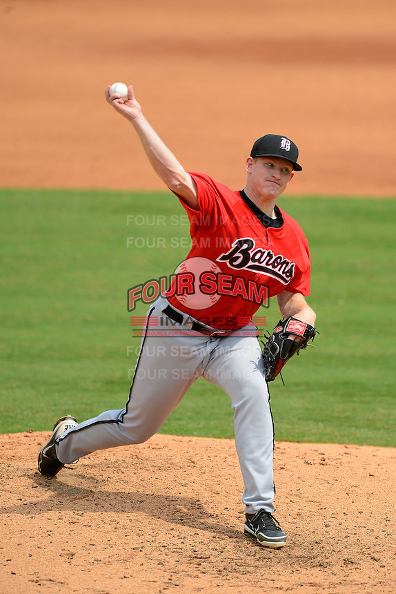 Birmingham Barons pitcher Erik Johnson #35 during a game against the Chattanooga Lookouts on April 17, 2013 at AT&T Field in Chattanooga, Tennessee.  Chattanooga defeated Birmingham 5-4.  (Mike Janes/Four Seam Images)