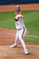 Relief pitcher Graham Stoneburner #15 of the Clemson Tigers in action versus the North Carolina Tar Heels at Durham Bulls Athletic Park May 23, 2009 in Durham, North Carolina. The Tigers defeated the Tar Heals 4-3 in 11 innings.  (Photo by Brian Westerholt / Four Seam Images)