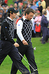 Rory McIlroy and Graeme McDowell walk off the 17th on day two Foursomes matches  on saturday afternoon at the 2010 Ryder Cup at the Celtic Manor twenty ten course, Newport Wales, 2/10/2010.Picture Fran Caffrey/www.golffile.ie.