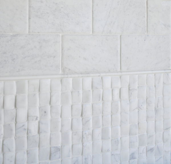 Timeworn Lucido Bianco Carrara<br /> Pencil Moldings in Statuary Carrara honed NRFRSPCIL-SCH, Timeworn Bianco Carrara 6 x 12 in bricks RFFRS15X30-TCR, <br /> Timeworn Bianco Carrara  2 x 2 in. bricks NRFRS2X2-TCR