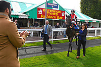 Connections of Jamil ridden by Andrea Atzeni and trained by Roger Varian applaud as he is is led into the winners enclosure after winning The Become a Wiltshire Freemason EBF Novice Stakes   during Afternoon Racing at Salisbury Racecourse on 4th October 2017