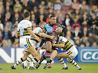 Twickenham. GREAT BRITAIN, Quins's, Jorden TURNER-HALL Attacking with the ball,  during the, Guinness Premiership game between, NEC Harlequins and Northamption Saints, on Sat., 04/11/2006, played at the Twickenham Stoop, England. Photo, Peter Spurrier/Intersport-images].....