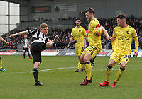 Craig Halkett handles the ball from the sot of Gavin Reilly  in the St Mirren v Livingston Scottish Professional Football League Ladbrokes Championship match played at the Paisley 2021 Stadium, Paisley on 14.4.18.