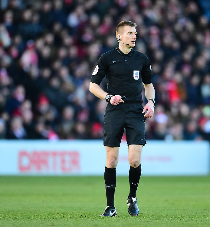 Referee Michael Salisbury<br /> <br /> Photographer Andrew Vaughan/CameraSport<br /> <br /> The EFL Sky Bet League Two - Lincoln City v Northampton Town - Saturday 9th February 2019 - Sincil Bank - Lincoln<br /> <br /> World Copyright &copy; 2019 CameraSport. All rights reserved. 43 Linden Ave. Countesthorpe. Leicester. England. LE8 5PG - Tel: +44 (0) 116 277 4147 - admin@camerasport.com - www.camerasport.com