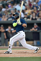 Second baseman Michael Paez (3) of the Columbia Fireflies bats in a game against  the Charleston RiverDogs on Friday, June 9, 2017, at Spirit Communications Park in Columbia, South Carolina. Columbia won, 3-1. (Tom Priddy/Four Seam Images)