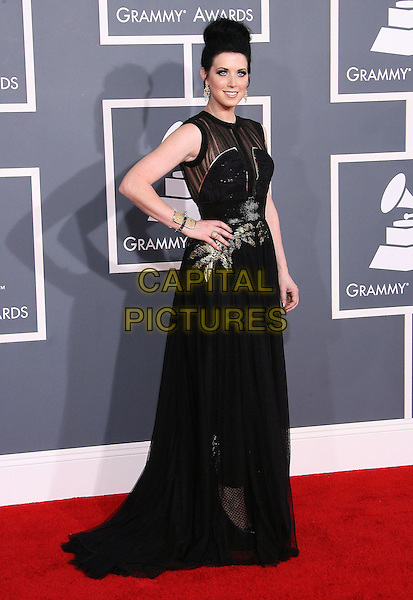 Thompson Square, Shawna Thompson.The 54th Annual GRAMMY Awards held at the Staples Center, Los Angeles, California, USA..February 12th, 2012.full length black dress hand on hip gold sheer.CAP/ADM.©AdMedia/Capital Pictures.