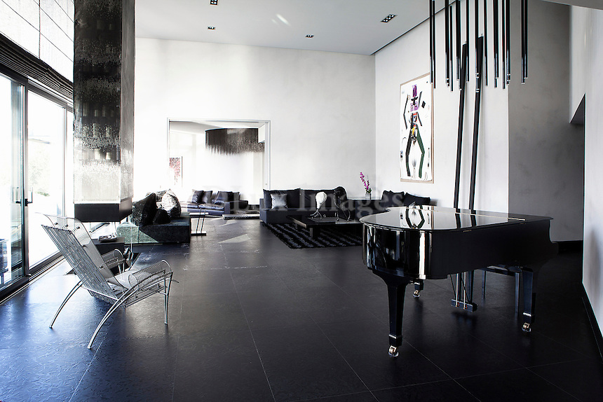 modern black living room