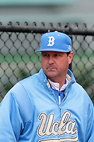 UCLA Bruins Head Coach John Savage #22 before a game against the Arizona State Sun Devils at Jackie Robinson Stadium on March 16, 2012 in Los Angeles,California. UCLA defeated Arizona State 6-5.(Larry Goren/Four Seam Images)