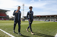 Nick Freeman (left) & Sido Jombati of Wycombe Wanderers ahead of the Sky Bet League 2 match between Grimsby Town and Wycombe Wanderers at Blundell Park, Cleethorpes, England on 4 March 2017. Photo by Andy Rowland / PRiME Media Images.