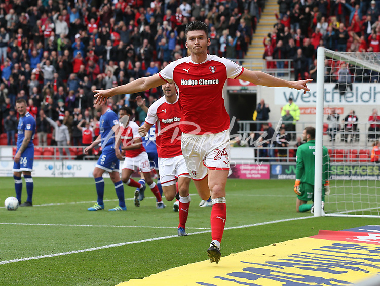 Rotherham United VS Oldham Athletic, New York Stadium Rotherham, Saturday 23rd September 2017 <br /> <br /> Rotherhams Kieffer Moore heads home the 3rd goal for the Millers. 3-0<br /> <br /> Picture - Alex Roebuck / www.alexroebuck.co.uk
