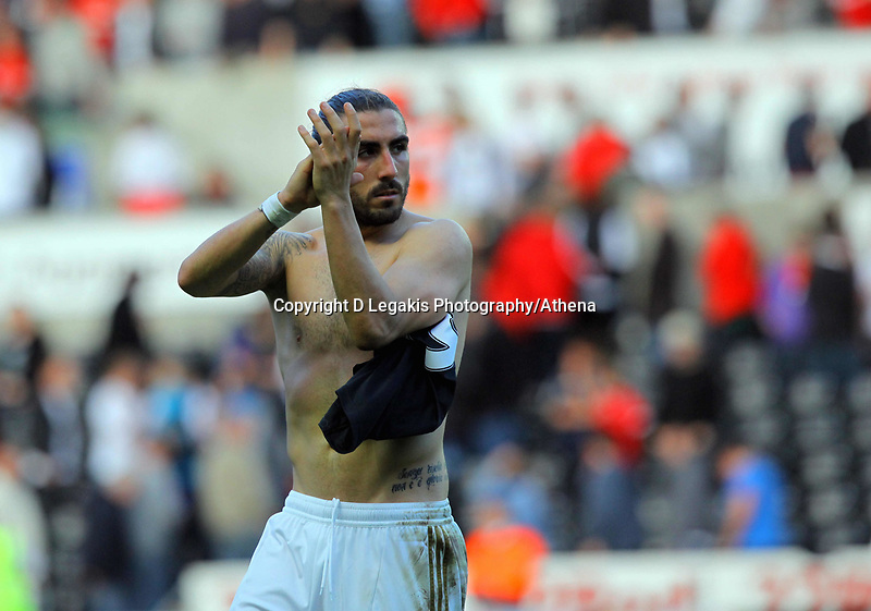 Saturday, 20 October 2012<br /> Pictured: Chico Flores of Swansea thanks home supporters<br /> Re: Barclays Premier League, Swansea City FC v Wigan Athletic at the Liberty Stadium, south Wales.