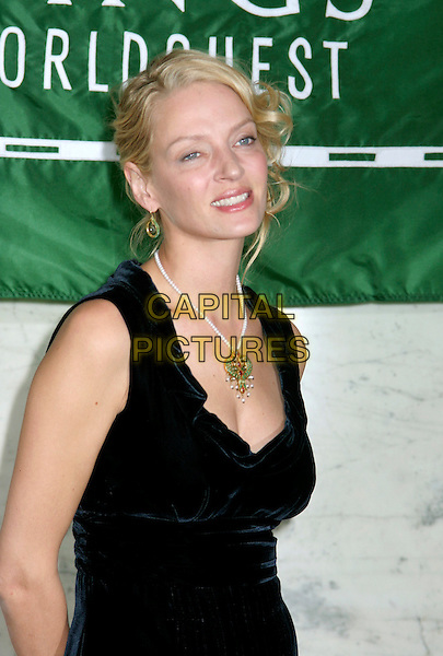 UMA THURMAN.At the Fifth Annual Wings World Quest 2007 Women of Discovery Awards Gala, New York, NY, USA..at Cipriani.                             .March 1st, 2007.half length blue velvet dress pearl necklace gold jewellery jewelry .CAP/IW.©Ian Wilson/Capital Pictures