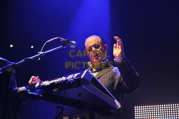 Martyn Ware.British Electric Foundation (B.E.F) at the Roundhouse, Camden, London, England..15th October 2011.performing performance live in stage on concert music gig half length black pinstripe suit hand arm keyboards .CAP/MAR.© Martin Harris/Capital Pictures.