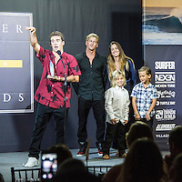 Turtle Bay Resort, North Shore, Oahu, Hawaii. (Tuesday December 6, 2016): Mason Ho (HAW) recieving the AI award from Bruce, Lyndie and Axel. The annual Surfer Poll Awards were held tonight at the Turtle Bay Resort with the new world champion John John Florence (HAW) taking out the #1 spot on the Men's Reader Poll and Carissa Moore (HAW) #1 on the women's poll. Photo: joliphotos