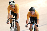 Regan Gough (L) and Luke Mudgway of East Coast North Island compete in the Elite Men Omnium 2 Tempo race 10km at the Age Group Track National Championships, Avantidrome, Home of Cycling, Cambridge, New Zealand, Saturday, March 18, 2017. Mandatory Credit: © Dianne Manson/CyclingNZ  **NO ARCHIVING**
