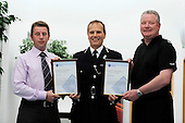Strathclyde Police Chief Constable's Bravery Awards - Cons Colin Baird (right) and Nigel Abbott (correct spelling), who both received the Chief Constable's Commendation for their action's relating to the Biggar bus crash - here with Ch Cons Stephen House (centre) - 29.10.10 - picture by Donald MacLeod - mobile 07702 319 738 - clanmacleod@btinternet.com - www.donald-macleod.com