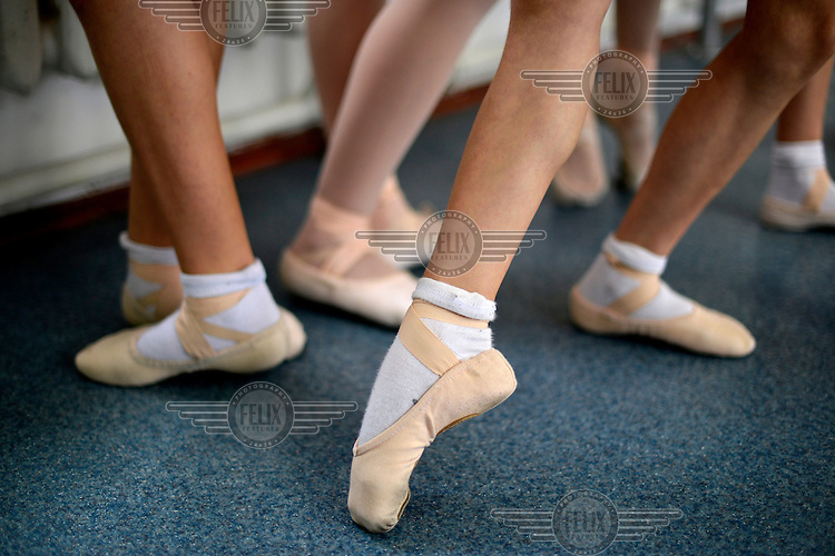 Trainee ballerinas at the Moldova State College of Choreography.  Moldova is well-known for the high standards of its dance training, a large proportion of its dancers going on to careers in international companies.