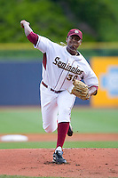 Starting pitcher Hunter Scantling #30 of the Florida State Seminoles in action versus the Georgia Tech Yellow Jackets at Durham Bulls Athletic Park May 23, 2009 in Durham, North Carolina.  (Photo by Brian Westerholt / Four Seam Images)