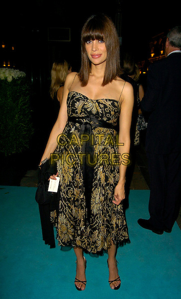 LISA B - BARBUSCIA.The Rhapsody In Blue party, Tiffany & Co., London, UK..September 14th, 2006.Ref: CAN.full length black yellow floral print dress black ribbon belt.www.capitalpictures.com.sales@capitalpictures.com.©Can Nguyen/Capital Pictures