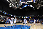 27 March 2015: A free throw by North Carolina's Latifah Coleman (2) gives UNC an 8-0 lead two minutes into the game. The University of North Carolina Tar Heels played the University of South Carolina Gamecocks at the Greensboro Coliseum in Greensboro, North Carolina in a 2014-15 NCAA Division I Women's Basketball Tournament regional semifinal game. South Carolina won the game 67-65.