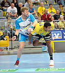 GER - Mannheim, Germany, September 23: Players warm-up before the DKB Handball Bundesliga match between Rhein-Neckar Loewen (yellow) and TVB 1898 Stuttgart (white) on September 23, 2015 at SAP Arena in Mannheim, Germany.  Lars Friedrich #9 of TVB 1898 Stuttgart, Mads Mensah Larsen #22 of Rhein-Neckar Loewen<br /> <br /> Foto &copy; PIX-Sportfotos *** Foto ist honorarpflichtig! *** Auf Anfrage in hoeherer Qualitaet/Aufloesung. Belegexemplar erbeten. Veroeffentlichung ausschliesslich fuer journalistisch-publizistische Zwecke. For editorial use only.