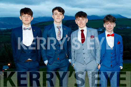 Archie Ryall, Chris O'Halloran, Darach Gallagher and Michael O'Sullivan, Mercy Mounthawk Secondary School, Tralee, enjoying the TY Ball at Ballyroe Heights Hotel, Tralee, on Saturday night last.
