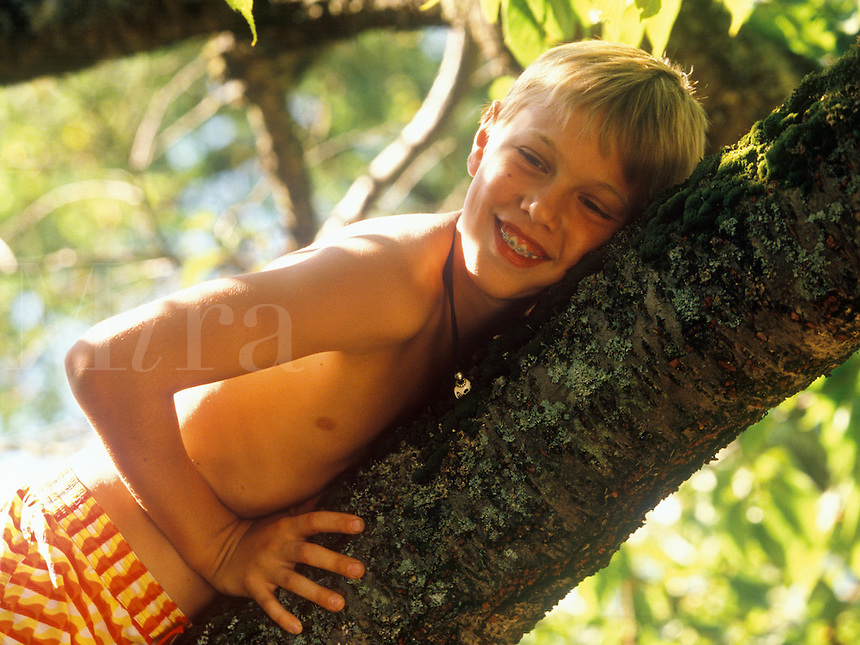 Smiling boy in a tree.