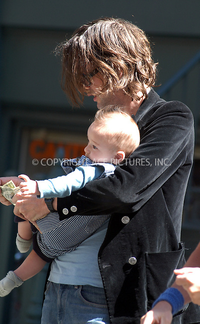 *** EXCLUSIVE ***..Jarvis Cocker departs his New York hotel with the baby. New York. September 10, 2003. Please byline: NY Photo Press.   ..*PAY-PER-USE*      ....NY Photo Press:  ..phone (646) 267-6913;   ..e-mail: info@nyphotopress.com