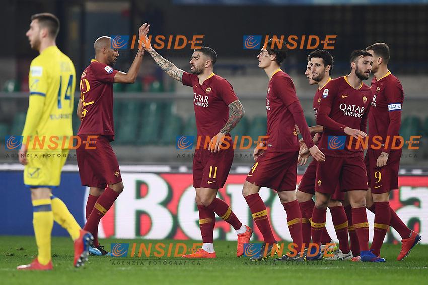 Aleksandar Kolarov of AS Roma (C), celebrates with team mates after scoring goal of 0-3 <br /> Verona 8-2-2019 Stadio Bentegodi Football Serie A 2018/2019 Chievo Verona - AS Roma <br /> Foto Image Sport / Insidefoto
