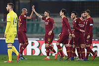 Aleksandar Kolarov of AS Roma (C), celebrates with team mates after scoring goal of 0-3 <br /> Verona 8-2-2019 Stadio Bentegodi Football Serie A 2018/2019 Chievo Verona - AS Roma <br /> Foto Image Sport / Insidefoto