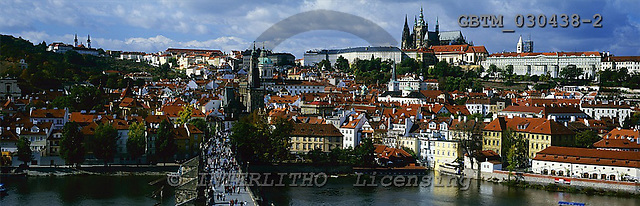 Tom Mackie, LANDSCAPES, panoramic, photos, View over Charles Bridge & Vltava River, Prague, Czech Republic, GBTM030438-2,#L#