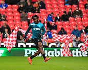 2nd December 2017, bet365 Stadium, Stoke-on-Trent, England; EPL Premier League football, Stoke City versus Swansea City; Wilfried Bony of Swansea City warms up for the game
