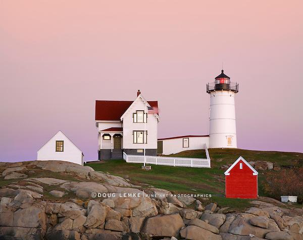 The Nubble Light In Soft Twilight Hues, Cape Neddick, Maine
