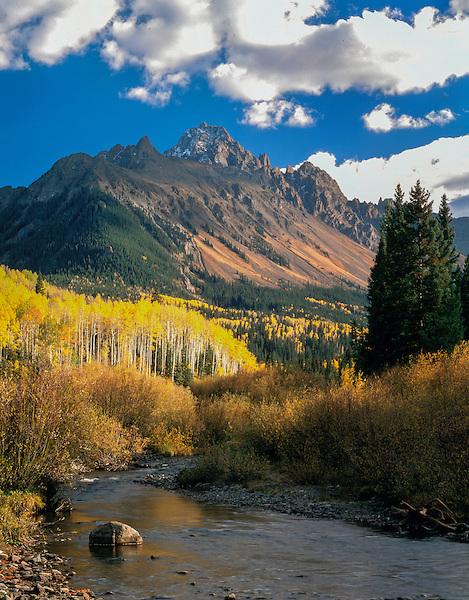 Mt Sneffels and stream in autumn, Ridgeway, Colorado, John offers autumn photo tours throughout Colorado.
