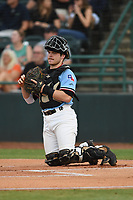Matt Whatley (19) of the Hickory Crawdads during game one of the Northern Division, South Atlantic League Playoffs against the Delmarva Shorebirds at L.P. Frans Stadium on September 4, 2019 in Hickory, North Carolina. The Crawdads defeated the Shorebirds 4-3 to take a 1-0 lead in the series. (Tracy Proffitt/Four Seam Images)