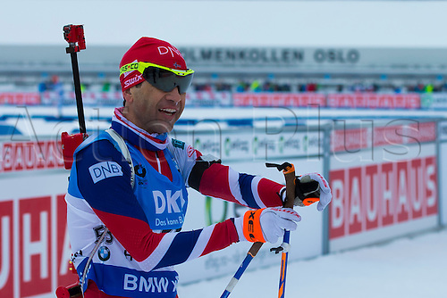 05.03.2016. Oslo Holmenkollen, Oslo, Norway. IBU Biathlon World Championships. Johannes Thingnes Boe of Norway competes in the men 10km sprint competition during the IBU World Championships Biathlon in Holmenkollen Oslo, Norway.
