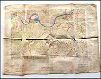 BNPS.co.uk (01202 558833)<br /> Pic: Bosleys/BNPS<br /> <br /> An extremely rare map of German bombing targets in London in the Second World War has been unearthed after more than 75 years.<br /> <br /> It belonged to a Luftwaffe navigator and highlights important buildings and targets in central and south London, including Battersea Power Station and Chelsea Barracks. <br /> <br /> Other notable targets were Duke of York's headquarters and Fulham Palace, the home of the Bishop of London.<br /> <br /> The map, which focuses on Kensington, Wimbledon and Fulham, is dated from November 30, 1941, 14 months after the Germans began their Blitz bombing campaign on British cities. <br /> <br /> It was found in the loft of a late Second World War air gunner and is believed to have come from the debris of a shot-down Luftwaffe.