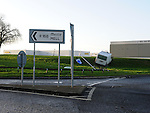 The scene of a road traffic accident at the Hill of Rath roundabout north of Drogheda. Photo: Colin Bell/pressphotos.ie