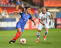 20170718 - TILBURG , NETHERLANDS : French Sakina Karchaoui (L) and Iceland's Gunnhildur Jonsdottir (R) pictured during the female soccer game between France and Iceland  , the frist game in group C at the Women's Euro 2017 , European Championship in The Netherlands 2017 , Tuesday 18 th June 2017 at Stadion Koning Willem II  in Tilburg , The Netherlands PHOTO SPORTPIX.BE | DIRK VUYLSTEKE