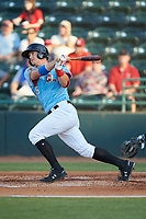 Josh Jung (15) Hickory Crawdads follows through on his swing against the Charleston RiverDogs at L.P. Frans Stadium on August 10, 2019 in Hickory, North Carolina. The RiverDogs defeated the Crawdads 10-9. (Brian Westerholt/Four Seam Images)