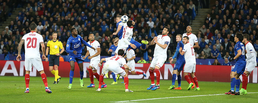 Leicester City's Robert Huth challenges for the ball against Sevilla's Adil Rami<br /> <br /> Photographer Stephen White/CameraSport<br /> <br /> UEFA Champions League Round of 16 Second Leg - Leicester City v Sevilla - Tuesday 14th March 2017 - King Power Stadium - Leicester <br />  <br /> World Copyright &copy; 2017 CameraSport. All rights reserved. 43 Linden Ave. Countesthorpe. Leicester. England. LE8 5PG - Tel: +44 (0) 116 277 4147 - admin@camerasport.com - www.camerasport.com