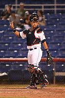 Binghamton Mets catcher Xorge Carrillo (44) signals one out during a game against the Bowie Baysox on August 3, 2014 at NYSEG Stadium in Binghamton, New York.  Bowie defeated Binghamton 8-2.  (Mike Janes/Four Seam Images)