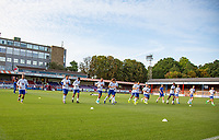Eden Hazard (left) of Chelsea warms up with teammates  before the match during the U23 Premier League 2 match between Chelsea and Everton at the EBB Stadium, Aldershot, England on 25 August 2017. Photo by Andy Rowland.
