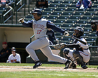 April 11, 2004:  Noah Hall (17) of the Syracuse Sky Chiefs, Class-AAA International League affiliate of the Toronto Blue Jays, during a game at Frontier Field in Rochester, NY.  Photo by:  Mike Janes/Four Seam Images