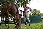 Trainer Aparna Battula with Mo Mon's Copycat at Monmouth Park Racetrack Barn Area on Tuesday September 27, 2016.  Photo By Bill Denver/EQUI-PHOTO.