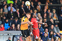 Climbing high during the Sky Bet League 2 match between Cambridge United and Grimsby Town at the R Costings Abbey Stadium, Cambridge, England on 15 October 2016. Photo by PRiME Media Images.