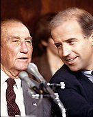 United States Senator J. Strom Thurmond (Republican of South Carolina), ranking member, U.S. Senate Judiciary Committee, left, and U.S. Senator Joe Biden (Democrat of Delaware), Chairman, U.S. Senate Judiciary Committee, right, during the 9 -5 vote that rejected the nomination of Robert H. Bork as Associate Justice of the Supreme Court in Washington, D.C. on October 6, 1987..Credit: Ron Sachs / CNP