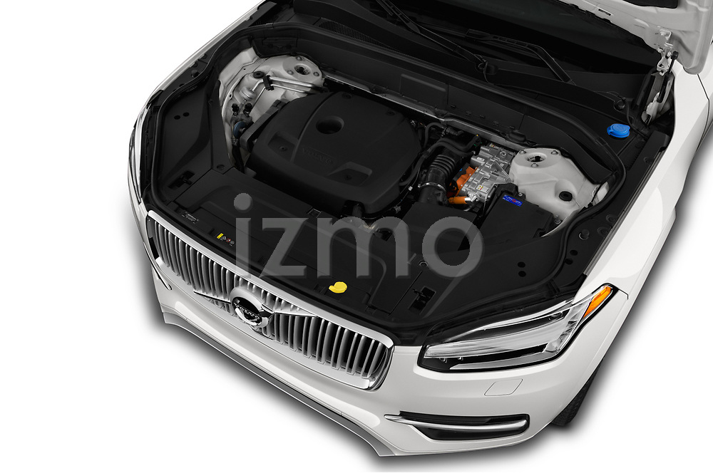 Car stock 2018 Volvo XC90 T8 Twin Engine Plug-in Inscription 5 Door SUV engine high angle detail view